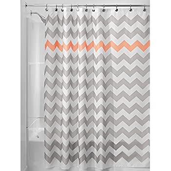 grey and coral shower curtain. InterDesign Chevron Shower Curtain  72 x Inch Light Gray Coral Amazon com Daizy and