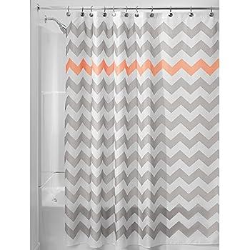 light gray shower curtain. InterDesign Chevron Shower Curtain  72 x Inch Light Gray Coral Amazon com