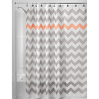 "iDesign Fabric Chevron Shower Curtain for Master, Guest, Kids', College Dorm Bathroom, 72"" x 72"", Gray and Coral - FABRIC SHOWER CURTAIN: High-quality wrinkle resistant 100% polyester fabric gives your shower stall a sleek look. Great for master bathroom, guest bathroom, child's bathroom, or basement bathroom STYLISH: Gray and coral chevron print is fashionable and looks great with any décor REINFORCED BUTTON-HOLES: 12 reinforced button-holes are suitable for S hooks, shower rings, and other shower curtain hooks for easy hanging - shower-curtains, bathroom-linens, bathroom - 514nL2YywwL. SS400  -"