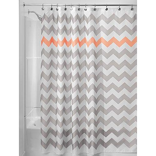 InterDesign Chevron Shower Curtain 72 X Inch Light Gray Coral
