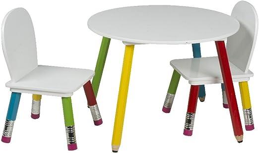 Mesa redonda infantil con 2 sillas a juego, con diseño de lápices ...