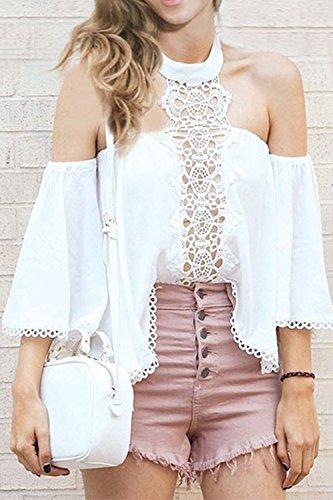 La Mujer Halter De Gasa Vintage De Encaje Elegante Hueco Fuera Tunica Blusa Camisa Top White