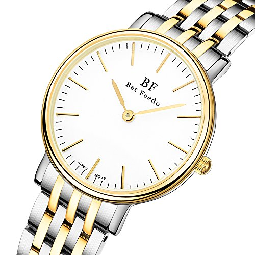 Stainless Steel Two Tone Wrist Watch (BETFEEDO Women's Waterproof Casual Classic Dress Analog Quartz Wrist Watch With 316 Stainless Steel (Two-Tone))