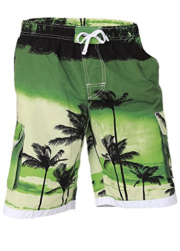 - Boys Quick Dry Swim Trunks Cargo Water Shorts with Mesh Lining (Green Palm, 2T)