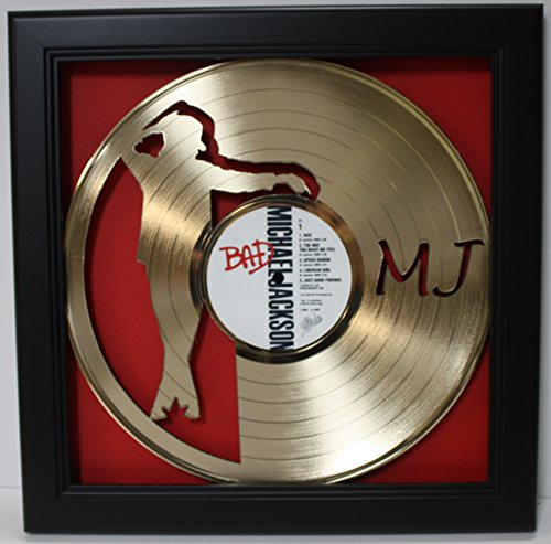 Michael Jackson Framed Laser Cut Gold Plated Vinyl Record in