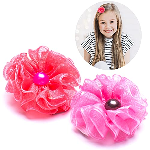 Girl's Flower Hair Clips Handmade Cute Hair Holder Hairpins Set for Baby Girls Teens Toddlers, Pack of 2