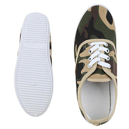 napoli-fashion Damen Sneakers Freizeit Schuhe Stoffschuhe Jennika Camouflage Creme