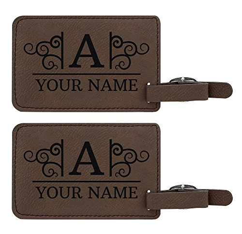 Custom Travel Gifts Custom Initial & Name Suitcase Carry On Luggage Tag Personalized Travelers Gifts Custom 2-pack Laser Engraved Leather Luggage Tags Brown