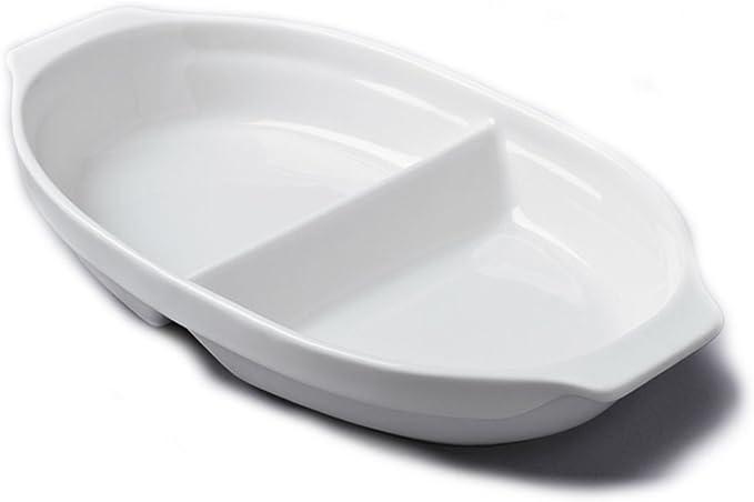 Divided Dish Large 33cm White Ceramic Pack Of 2 Amazon Co Uk Kitchen Home