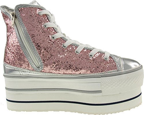 Glitter High Sneakers Maxstar top Pink Platform Shoes Double HdAqAw