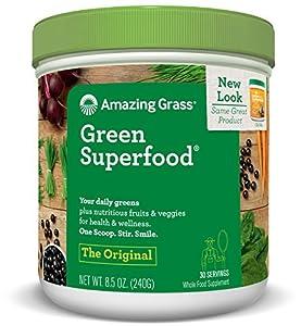 Amazing Grass Green Superfood, Original, Powder, 30 servings, 8.5oz Wheat Grass, Spirulina, Alfalfa, Acai, Maca, Flax Seed, Probiotic, Active Cultures, Vitamin K, Greens, Detox