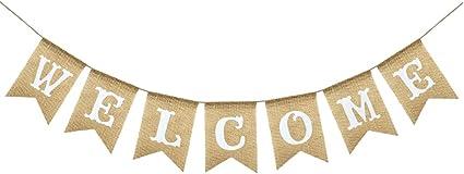 Amazon.com: Uniwish - Guirnalda de banderines de bienvenida ...