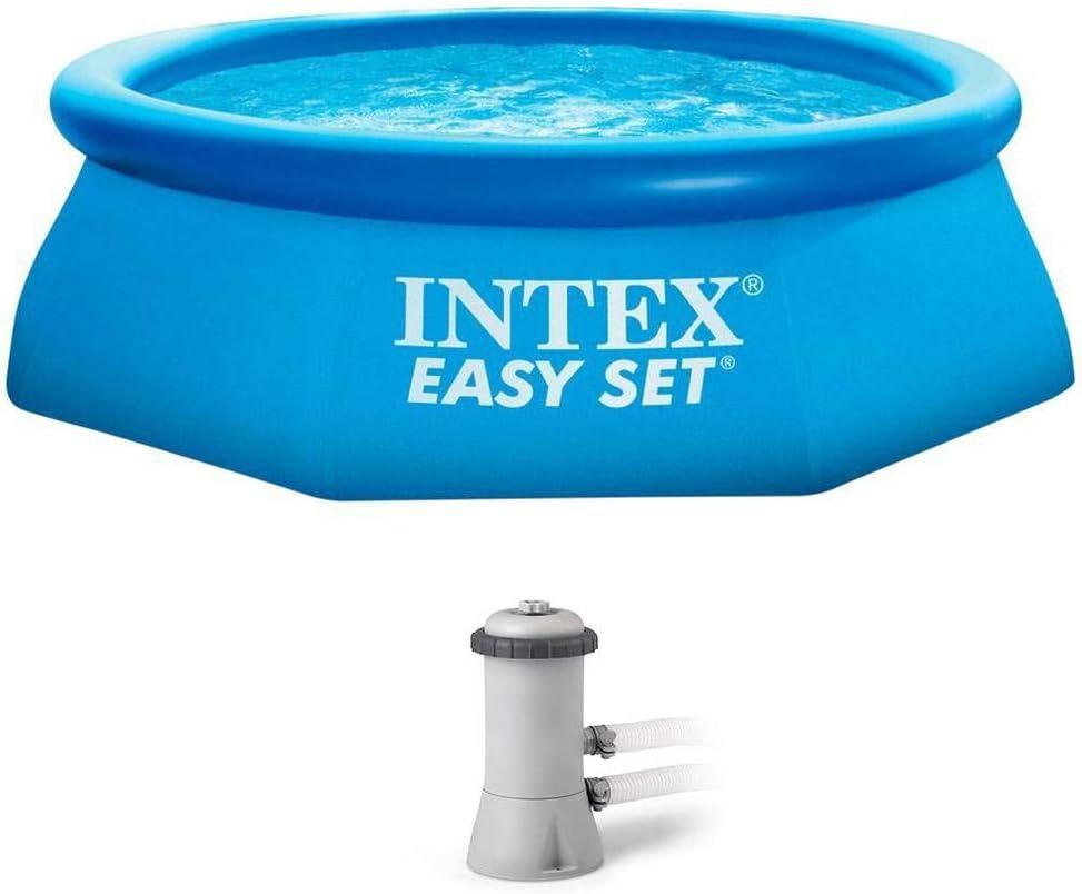 Intex - Piscina poligonal hinchable sobre el suelo con bomba de filtro de 8 pies x 30 pulgadas: Amazon.es: Deportes y aire libre