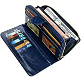 Women Wallet Soft Leather Bifold Clutch Wallet Large Capacity Long Purse with Strap (blue)