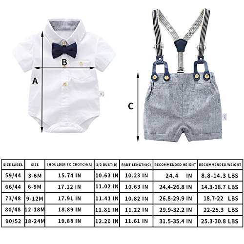 Baby Boys Gentleman Outfits Suits, Infant Short Sleeve Shirt+Bib Pants+Bow Tie Overalls Clothes Set by Boarnseorl (Image #2)