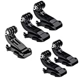 Oumers 5pcs Vertical Surface J-Hook J-Clips Buckle Mount Adapter Holder Body Strap Quick Release J-Hook Buckle Mount Base for GoPro Hero5 Gopro Hero 4 - Hero 3+ - Hero 3 - Hero 2 Silver Black Camera