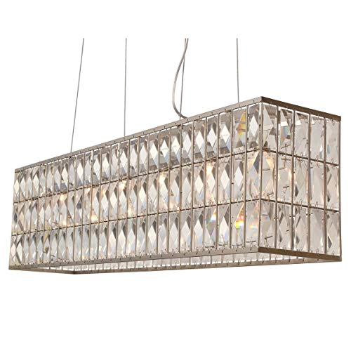Rectangular Chandelier Nickel (The Monroe Rectangular Clear Crystal Chandelier, Brushed Nickel)