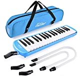 Eastar 37 Key Melodica Instrument with Mouthpiece Air Piano Keyboard,Carrying Bag Blue