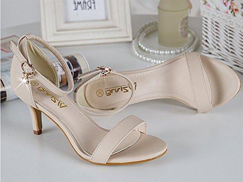 CHFSO Rhinestones Shoes Strap Beige Womens Ankle Buckle Sandals Fashion 6Pf7rI6