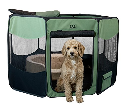 TL4136SG Pet Gear Travel Lite Octagon Pet Pen with Removable Top for Cat and Dog up to 60-Pound, 36-Inch, Sage (Small Pet Travel Gear)