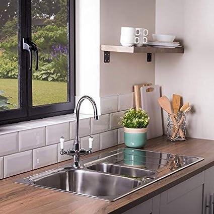 Rangemaster Houston Hs9852 985 X 508mm 1 5 Bowl Stainless Steel Kitchen Sink With Wastes