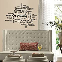 Lunarland FAMILY QUOTES Wall Decals Black Letter Room Decor Stickers LOVING WORDS HOME NEW