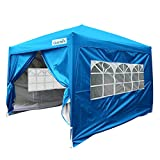 Quictent Silvox Waterproof 8x8' EZ Pop Up Canopy Gazebo Party Tent Light Blue Portable Style Removable Sides With Roller Bag
