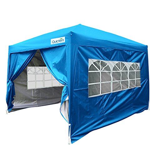 Quictent Silvox Waterproof 8×8′ EZ Pop Up Canopy Gazebo Party Tent Light Blue Portable Style Removable Sides With Roller Bag