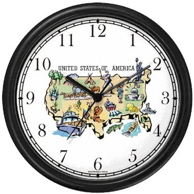 - Map of USA (US) with Icons - American Theme Wall Clock by WatchBuddy Timepieces (White Frame)