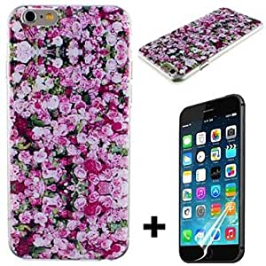 LZX Red Rose Pattern Hard with Screen Protector Cover for iPhone 6 Plus
