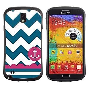 """Pulsar iFace Series Tpu silicona Carcasa Funda Case para Samsung Note 3 , Marinero del marinero de la nave Ancla Teal blanco"""""""