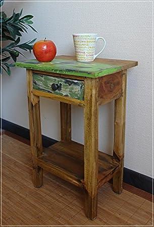 Beistelltisch mit Schublade aus recycling Holz: Amazon.de: Küche ...