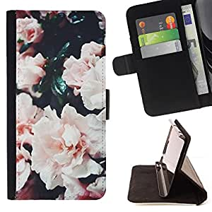 """For Sony Xperia M4 Aqua,S-type Bush Rosas rosadas de la flor blanca"""" - Dibujo PU billetera de cuero Funda Case Caso de la piel de la bolsa protectora"""