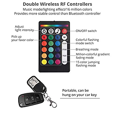 Justech 4 Pods RGB LED Rock Light Kits Multicolor Underglow Neon Light Kit with Extension Cord and Double Wireless RF Controllers for Truck ATV SUV Car Boat Motorcycle: Automotive