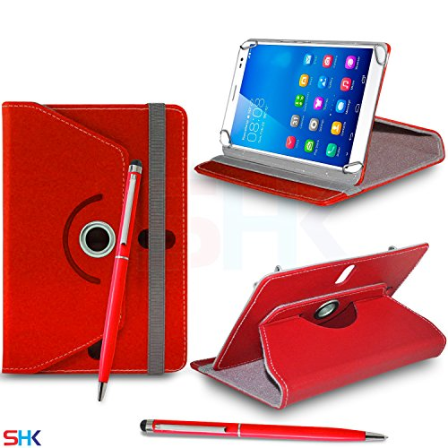 """HUAWEI MediaPad X1 7.0"""" Inch RED 360 Degree Rotating Tablet Case PU Leather Flip Wallet Spring Stand Case Cover + Ball Pen Touch Stylus Pen (SHK7) SVL106 BY SHUKAN®, (RED)"""