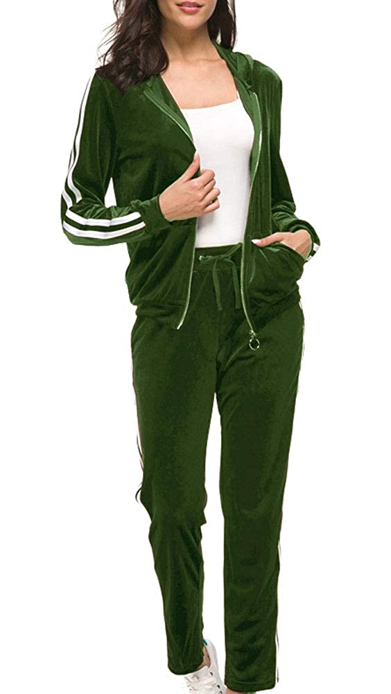 Fashion Sport Suit Womens Velour Stripe Jogging Zipped Hoodie Hoodie and Pants Sports Suits Tracksuits