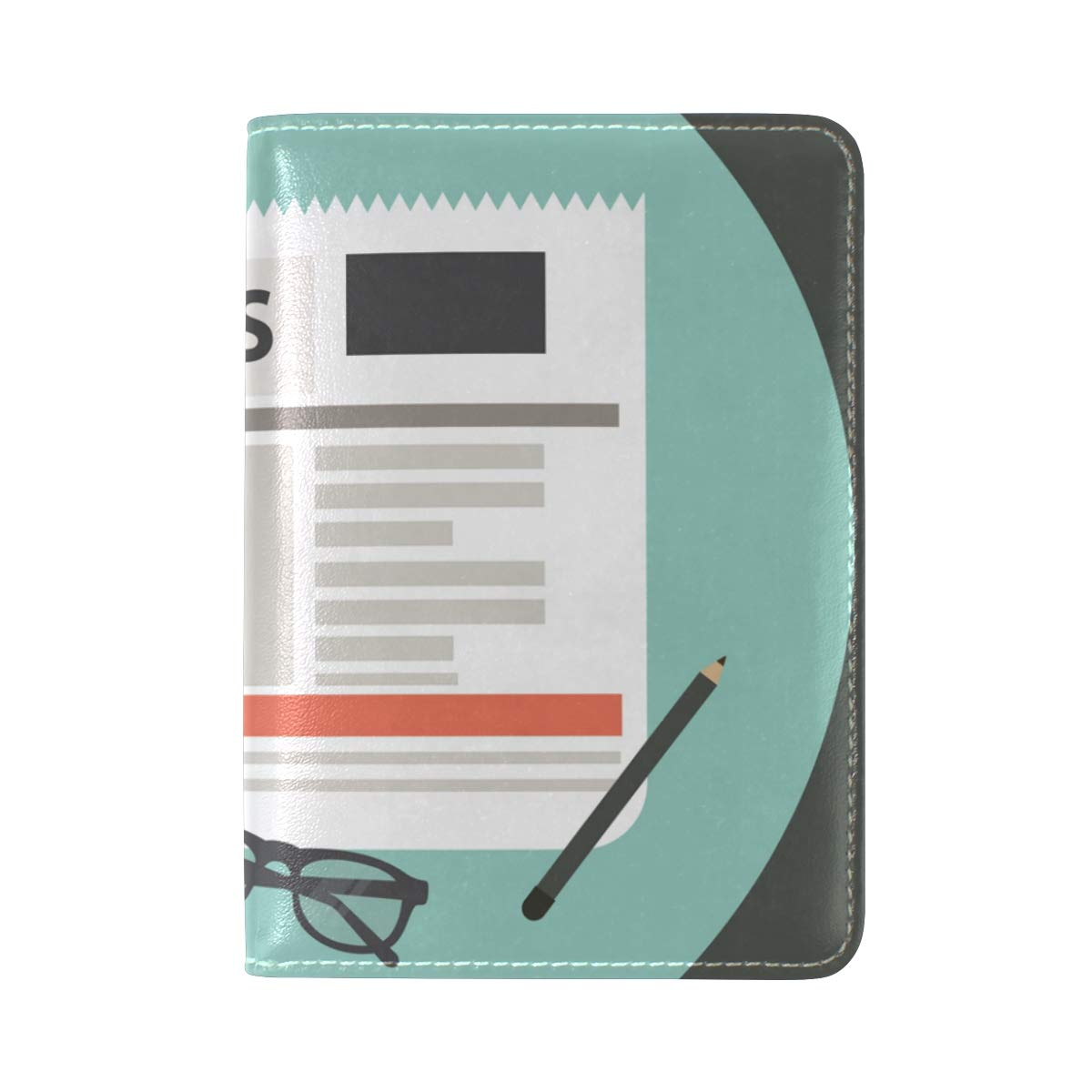Glasses Newspaper Leather USA Passport Holder Cover Travel Wallet Case Protector by CHAYUN