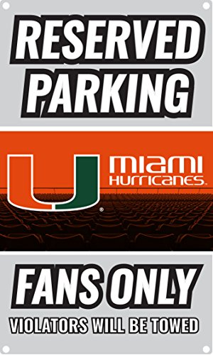 NCAA Parking For Fans Only Metal Sign (Miami Hurricanes) - Ncaa Sign Miami Hurricanes Street