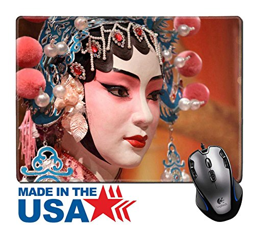 """MSD Natural Rubber Mouse Pad/Mat with Stitched Edges 9.8"""" x 7.9"""" IMAGE ID: 10495430 chinese opera dummy and red cloth as text space it is a toy not real (Chinese Costumes Images)"""