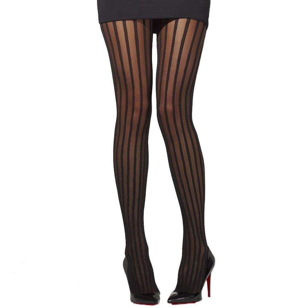 So Diva, calze velate aderenti con strisce verticali SDLVST Black