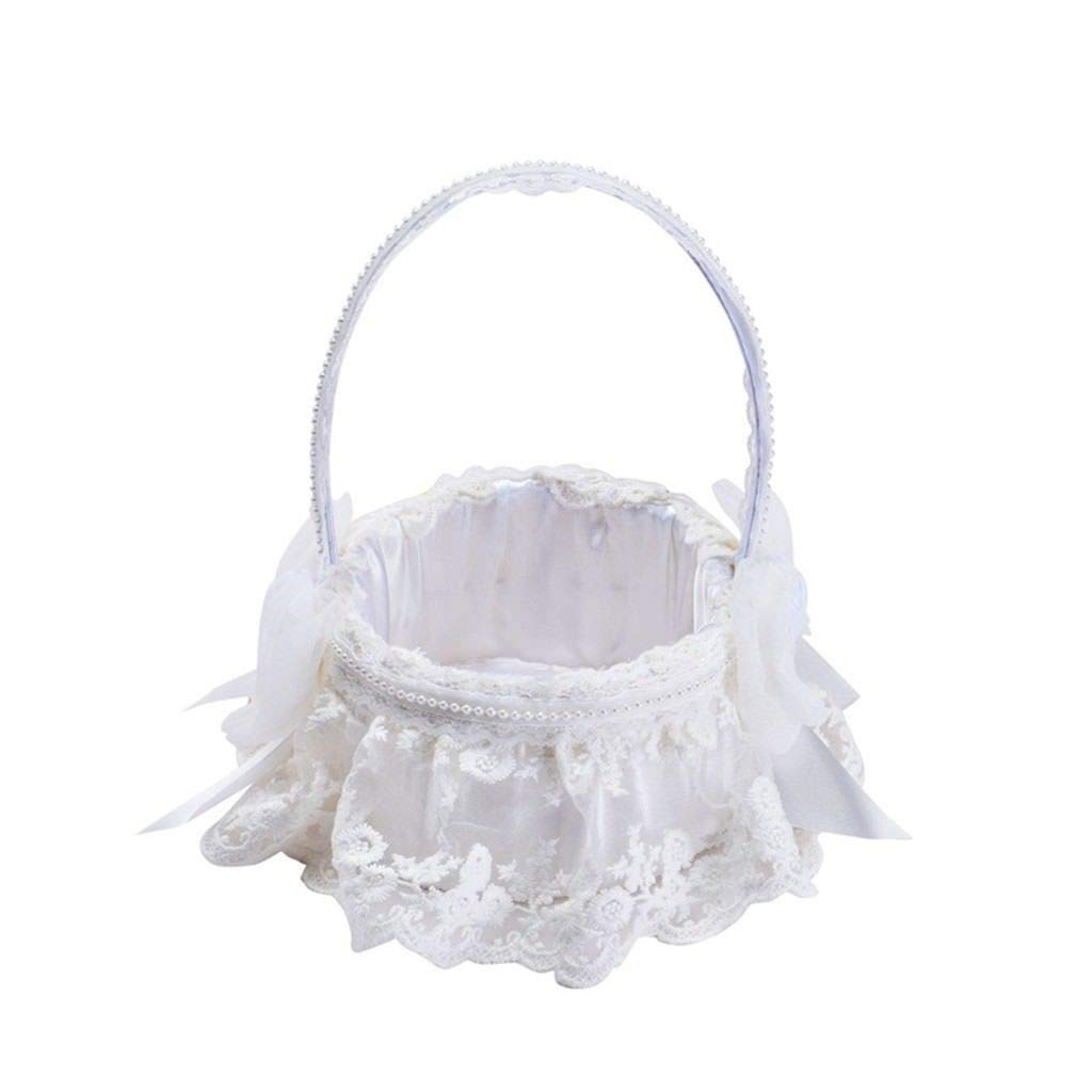 Agordo Wedding Flower Girl Basket Bowknot Rhinestone Lace Decor Satin/Burlap