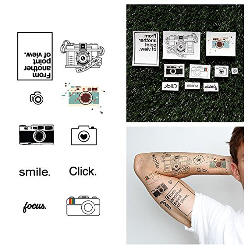[Tattify Photography Temporary Tattoos - Say Cheese (Complete Set of 18 Tattoos) - Individual Styles Available and Fashionable Temporary] (Child Cheese Costumes)