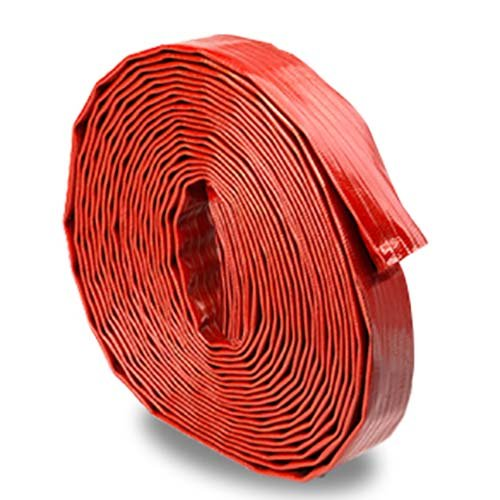 Red 1 1/2' x 100' Medium-Duty Uncoupled PVC Lay Flat Pool Discharge Hose FireHoseDirect