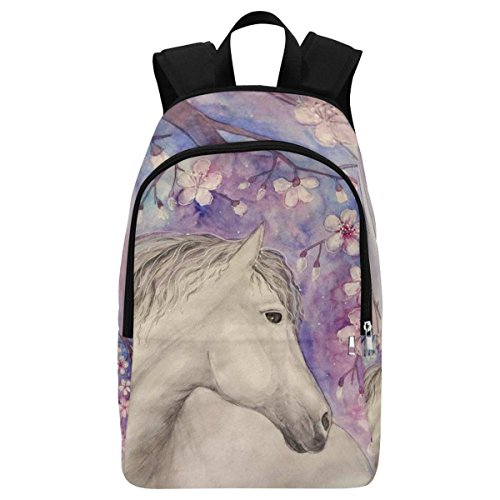 InterestPrint Japanese Cherry Blossom Horse Casual Backpack College School Bag Travel Daypack