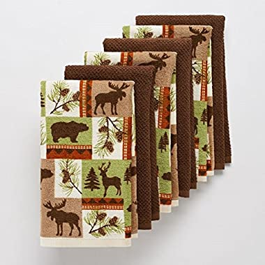 6 Pc Wildlife Kitchen Towel Set Perfect for Your Hunting Lodge or Log Cabin Featuring Bear Deer Moose