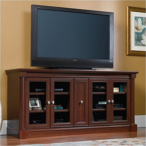 Cherry Real Wood - Pemberly Row Entertainment Credenza with Cord Management, for TV's up to 70
