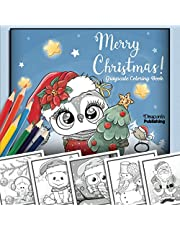 Merry Christmas Grayscale Coloring Book: 32 Adorable Christmas Themed Grayscale Illustrations for Kids or Adults to Color