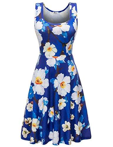 Herou Women Summer Beach Casual Flared Floral Tank Dress (Large, Flower-19)