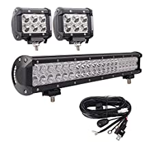Bangbangche 20inch 126W Combo Led Light Bar with Wiring Harness and 2PCS 18W Spot Led Driving Fog Lighting for Tractor Trailer Truck forklifts ATV SUV JEEP Boat Snow Plow 4 wheeler