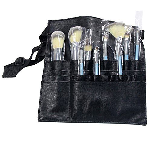 20 Pouch Nylon Round (Corcrest(TM) 20 Pockets Cosmetic Makeup Brush Bag Nylon Makeup Brushes Holder Bag Portable Case Pouch Cosmetic Apron with Belt Strap)